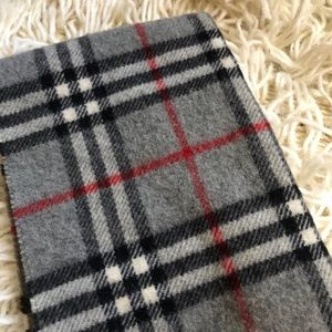 Gray Plaid Lambswool Burberry Scarf